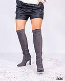Демисезонные ботфорты женские серые, фото 2