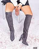 Демисезонные ботфорты женские серые, фото 3