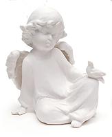 Фигурка (статуэтка) Ангелочек с птицей фарфоровая 12x8x13см