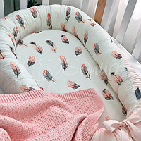 """Позиционер (гнездышко, кокон) Babynest """"Baby Design""""расцветки в ассортименте Перо пудра"""