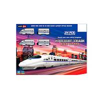 ЖД HX2014-02 (24шт) локомотив 2шт,9см, вагоны 2шт, станция, 24дет, в кор-ке, 44,5-33-5см