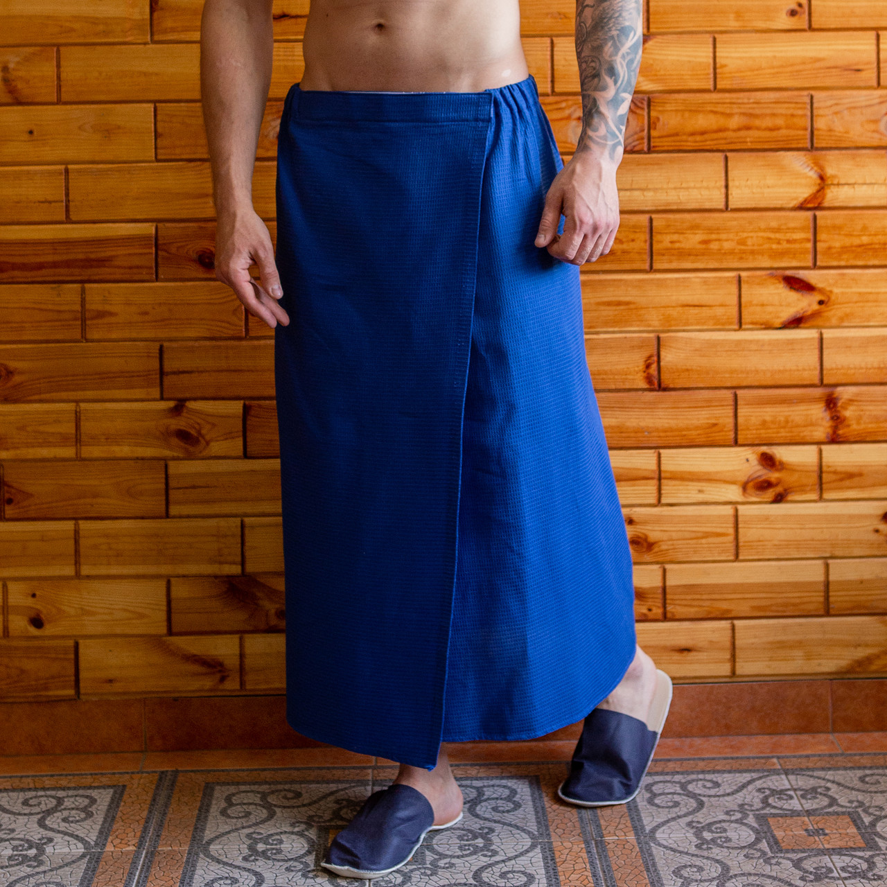 Полотенце (килт-парео) вафельное 75х150 см синий