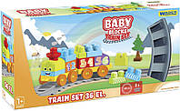 Конструктор Wader Baby Blocks Train Set Мои первые кубики Железная дорога 36 элементов КОД: 41460