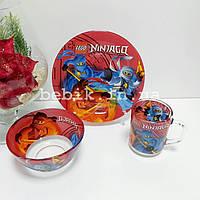 Подарунковий набір дитячого посуду зі скла Ninjago для хлопчиків