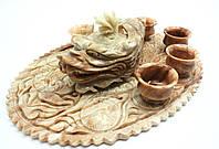 Чайный набор из коричневого мрамора, резьба китайских мастеров, фото 1