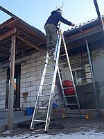 Сходи професійна алюмінієва трисекційна універсальна 3 х 10 ступенів, фото 1