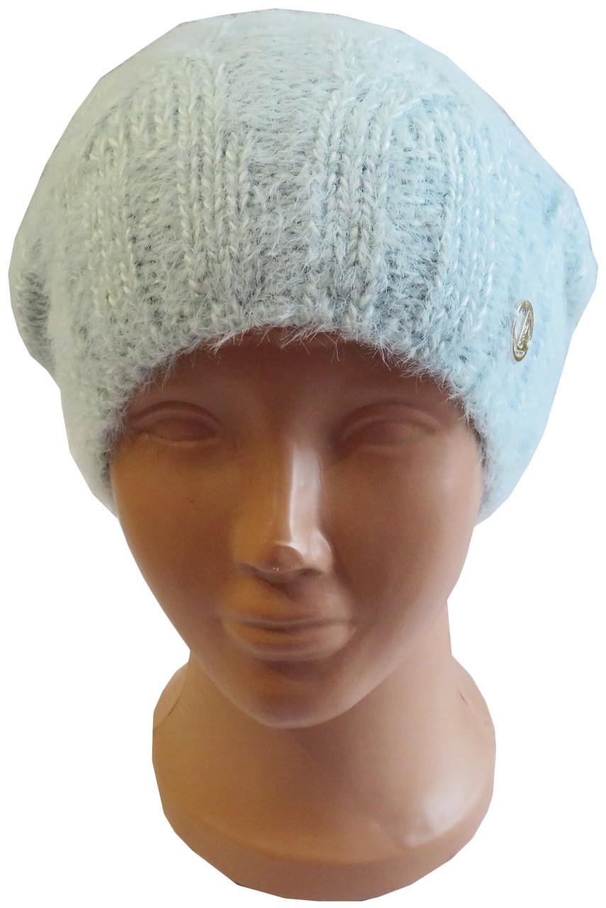 """Тепла жіноча в'язана шапка на зиму з пряжі типу """"альпака"""", мята"""