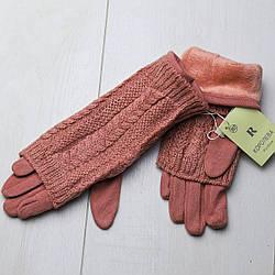 Перчатки женские теплые трикотажные, внутри мех,+минетки ажурные вязаные, Королева (размер 7)