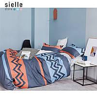 Постельное белье из сатина, Финляндия, зиг-заг синий, голубой. Полуторный комплект постельного белья.