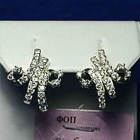 Серебряные серьги Буква М с цирконом 7666а, фото 1