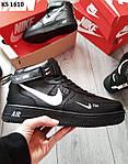 Мужские зимние кроссовки Nike Air Force 1 07 Mid LV8 (черные) KS 1610, фото 3