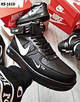 Мужские зимние кроссовки Nike Air Force 1 07 Mid LV8 (черные) KS 1610, фото 4