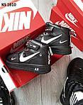 Мужские зимние кроссовки Nike Air Force 1 07 Mid LV8 (черные) KS 1610, фото 5