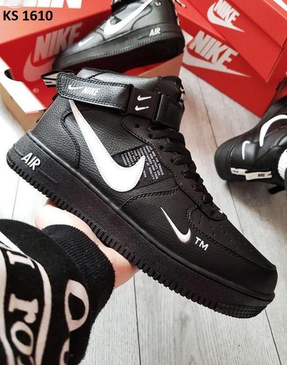 Мужские зимние кроссовки Nike Air Force 1 07 Mid LV8 (черные) KS 1610