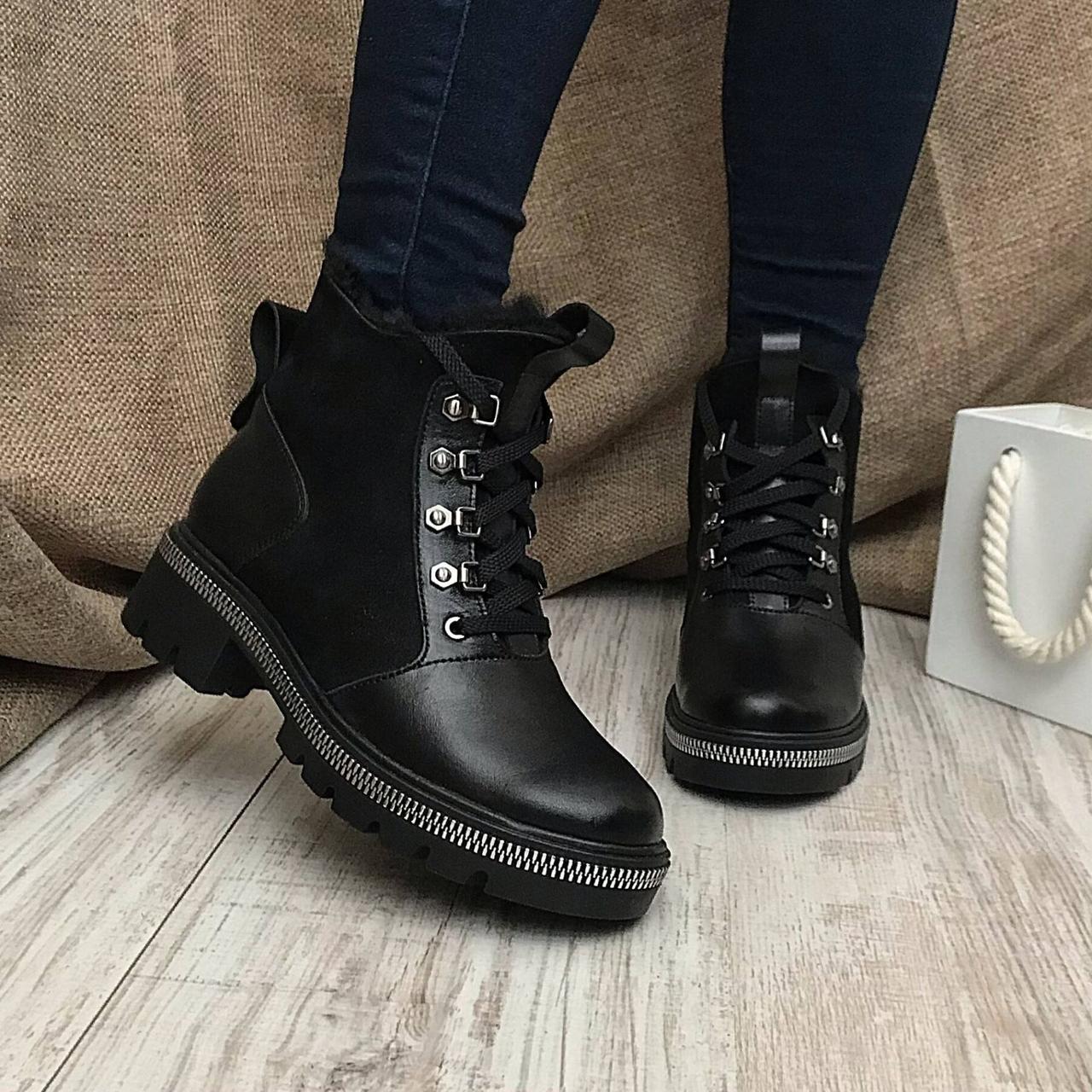 Ботинки кожаные AVK 07136/зм, Черный, 36