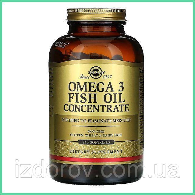 Solgar, Омега-3, Omega-3, рыбий жир, концентрат, 240 капсул. США