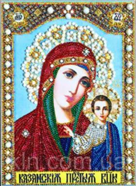 Алмазная вышивка Дева Мария с младенцем 34 х 24 см (арт. PR971) частичная выкладка