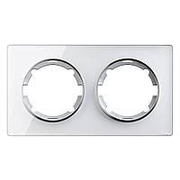 Рамка стеклянная для розеток и выключателей двойная OneKeyElectro, серия Garda, горизонтальная, белая