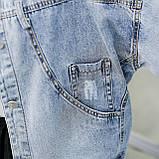 Куртка женская джинсовая укороченная с ромашкой синяя Pretty #71, фото 5