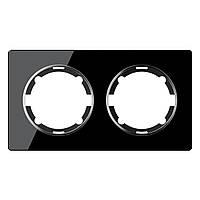Рамка стеклянная для розеток и выключателей двойная OneKeyElectro, серия Garda, горизонтальная, черная