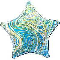 Фольгированный шар звезда агат голубой 45 см (Anagram)