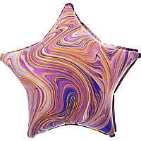 Фольгированный шар звезда агат фиолетовый 45 см (Anagram)