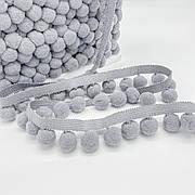 Тесьма с помпонами 20 мм серые