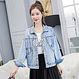 Куртка женская джинсовая укороченная с ромашкой синяя Pretty #71, фото 8