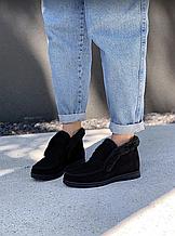 Ботинки женские черные замшевые