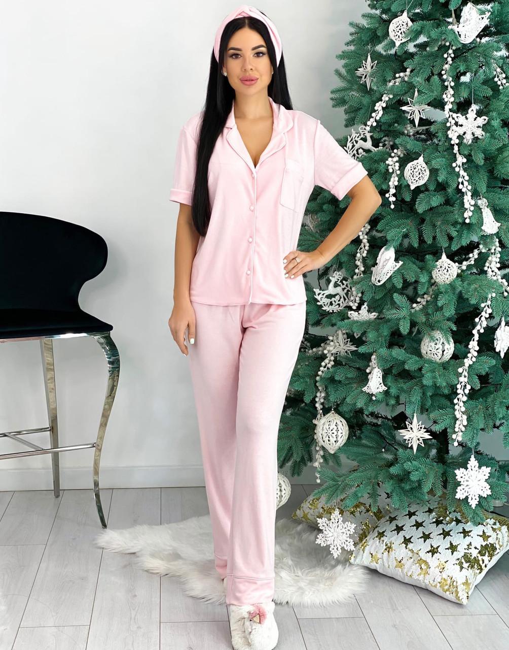 Брючная женская розовая пижама с повязкой