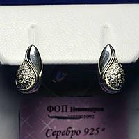 Серьги Капли серебро с цирконом 7831а, фото 1