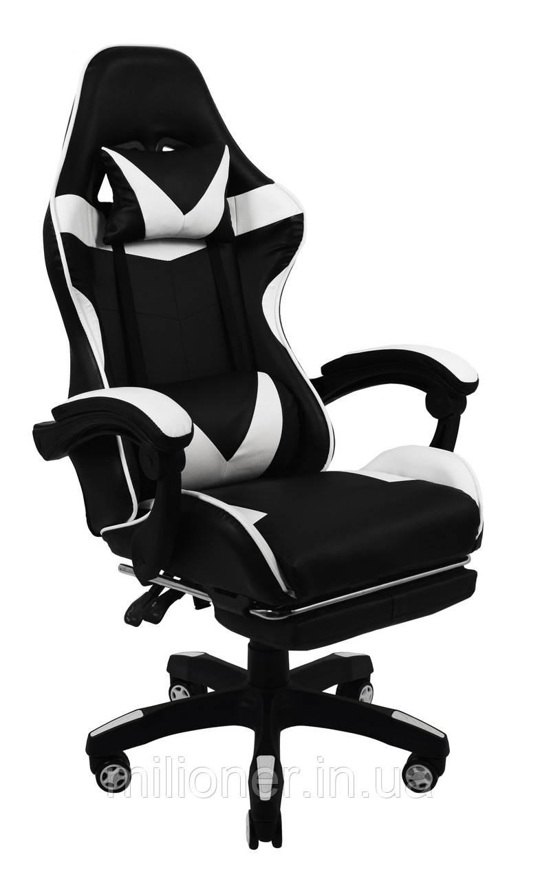 Кресло геймерское Bonro B-810 белое с подставкой для ног