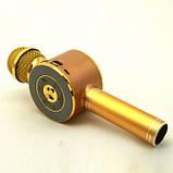 Детский беспроводной аккумуляторный караоке микрофон Wster с колонкой Bluetooth 24 см Золотой (WS-668), фото 2
