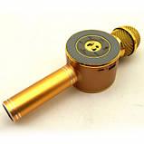 Детский беспроводной аккумуляторный караоке микрофон Wster с колонкой Bluetooth 24 см Золотой (WS-668), фото 4