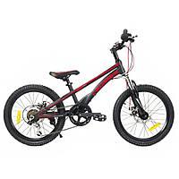 """Горный велосипед Crosser MTB 20"""" 6S Магниевый сплав, Shimano черный(красная надпись)"""