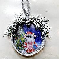 Игрушка на ёлку  Бычок Новогодний сувенир символ 2021 года, фото 1