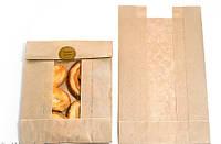 Пакет бумажный с окном Крафт 150 х 100 х 40 мм ( 100 шт)