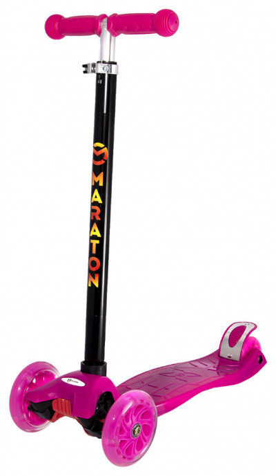 Детский трехколесный самокат Maraton 98 с ножным задним тормозом, Розовый