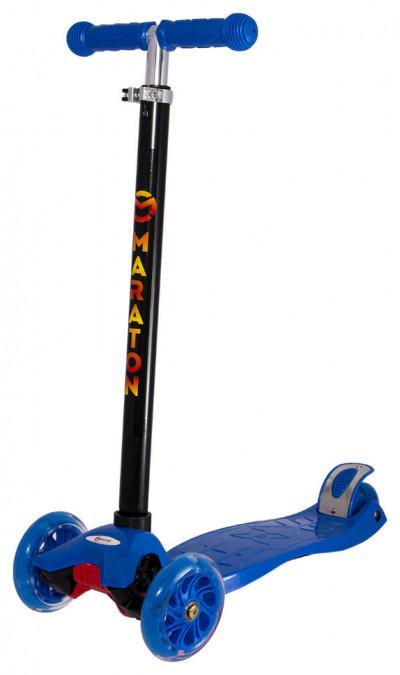 Детский трехколесный самокат Maraton 98 с ножным задним тормозом, Синий