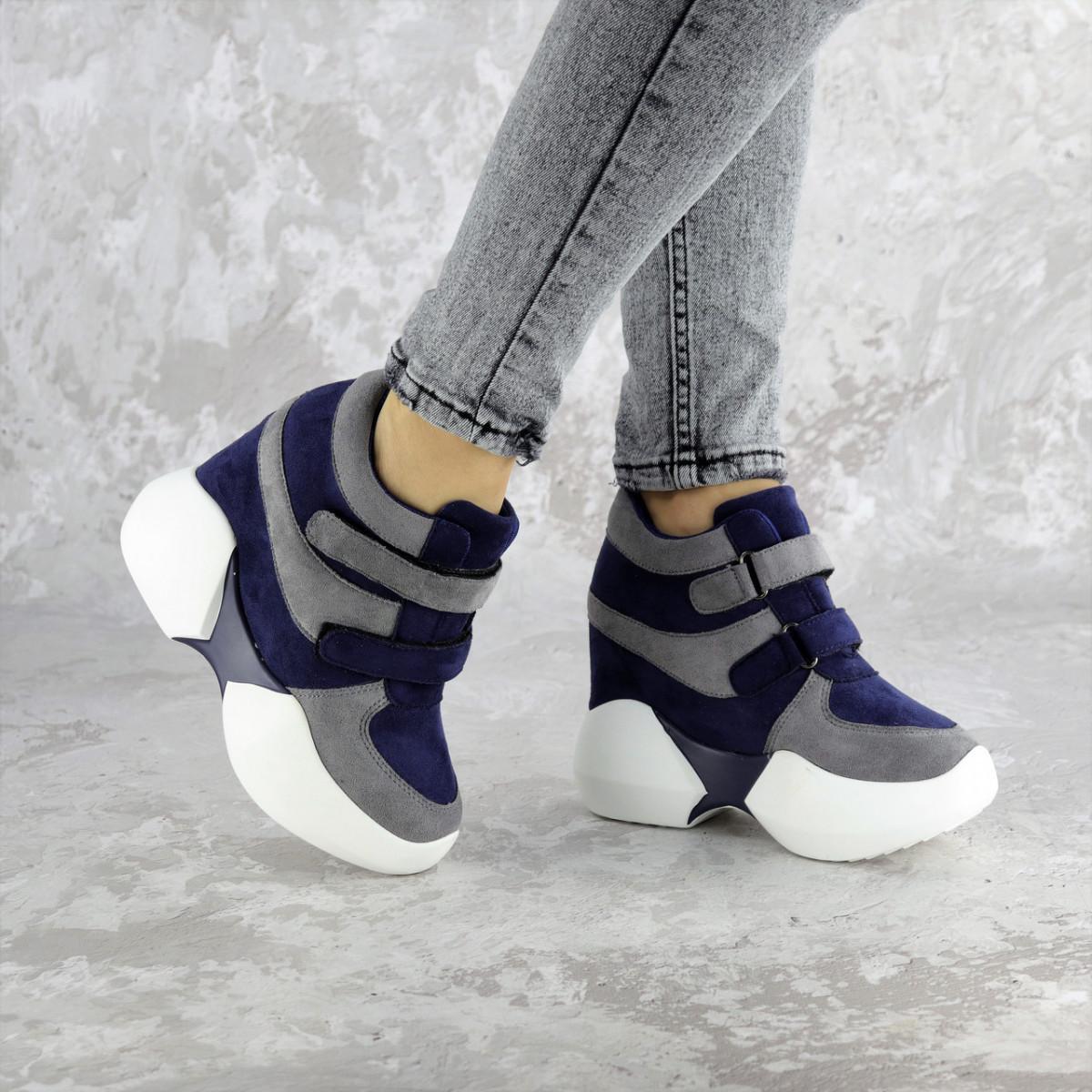 Женские кроссовки на танкетке синие Shadow 2331 (36 размер)