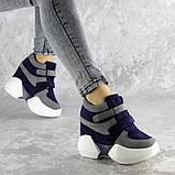 Женские кроссовки на танкетке синие Shadow 2331 (36 размер), фото 3