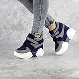 Женские кроссовки на танкетке синие Shadow 2331 (36 размер), фото 5