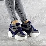 Женские кроссовки на танкетке синие Shadow 2331 (36 размер), фото 6