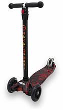 Дитячий триколісний самокат Maraton Maxi-B з ножним заднім гальмом, Вогонь