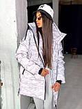 Женская  зимняя куртка на замке  с капюшоном с комуфляжным принтом, фото 2