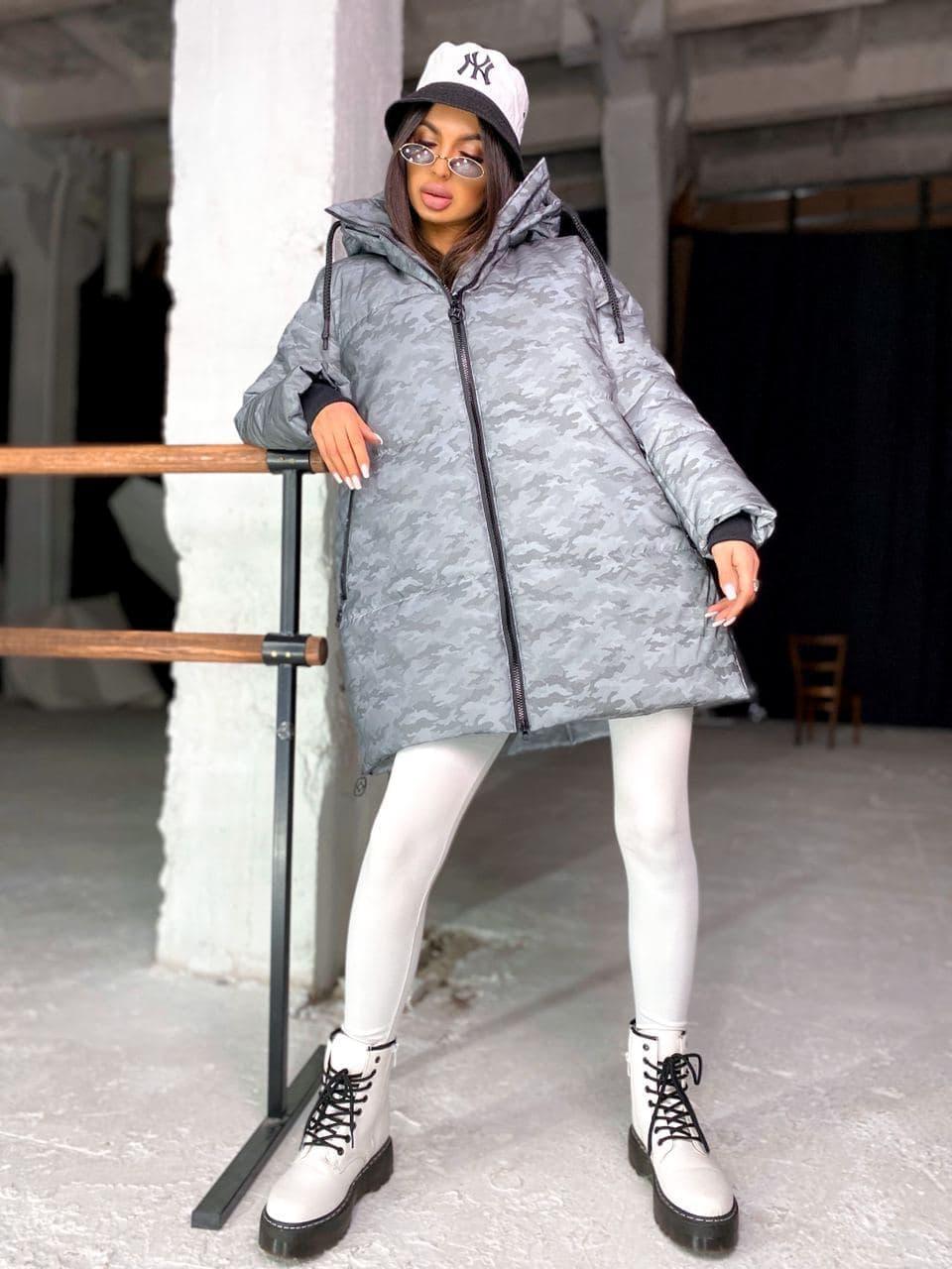 Женская  зимняя куртка на замке  с капюшоном с комуфляжным принтом