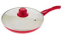 Сковорода антипригарная с крышкой Maestro MR-1201-28 красная | сковородка Маэстро, сотейник Маестро
