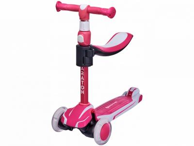 Детский трехколесный складной Самокат-Толокар Maraton Flex G с сиденьем, Розовый