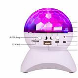 Диско-шар на аккумуляторе Charging crystal magic ball Bluetooth RD-5035 White, фото 5