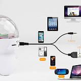 Диско-шар на аккумуляторе Charging crystal magic ball Bluetooth RD-5035 White, фото 6